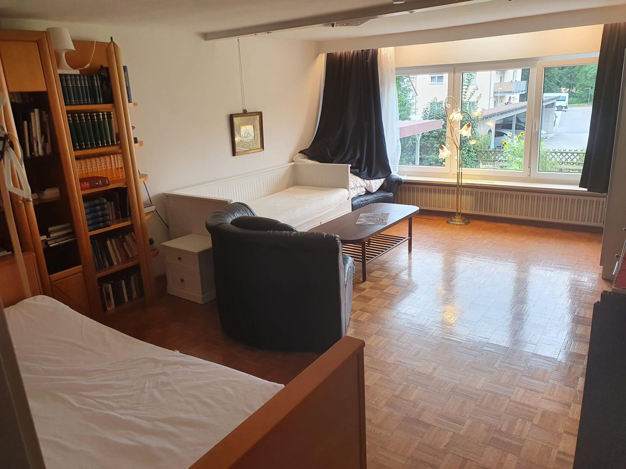 Wohn-Schlafzimmer mit Pflegebett (elektronisch mit Bettgalgen) und Tagesbett für Begleitperson